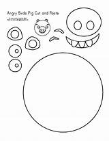 Activities Paste Cut Angry Birds Pig Coloring Template Makinglearningfun Credit Larger sketch template