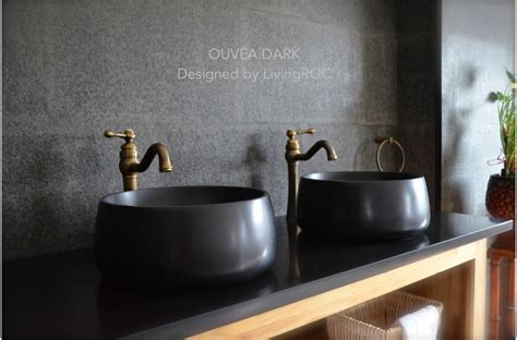 400mm Round Bathroom Basin Sink Black Basalt Stone OUVEA DARK