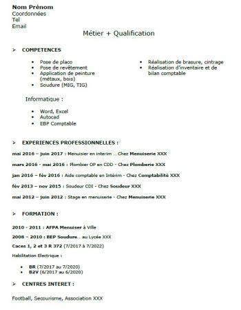 Réaliser Un Cv by Curriculum Vitae Exemple De Cv Simple Pour Travail
