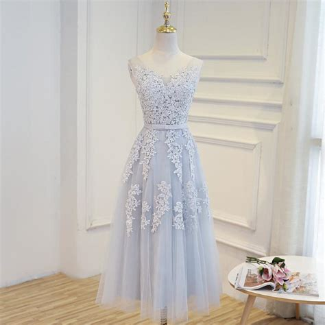 womens tea length wedding party dress  short evening