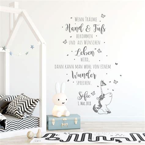 Babyzimmer Gestalten Wandtattoos wandtattoo babyzimmer spruch einhorn zitat