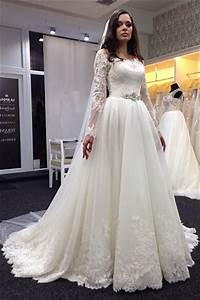 lace vestidos de noiva plus size wedding dresses long With long sleeve lace wedding dress plus size
