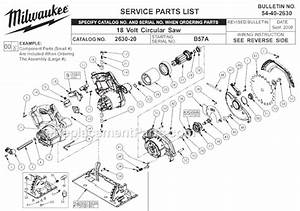 Milwaukee 2630-20 Parts List And Diagram