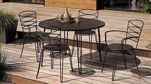 Salon De Jardin Table Ronde : table de jardin metal ronde mc immo ~ Teatrodelosmanantiales.com Idées de Décoration