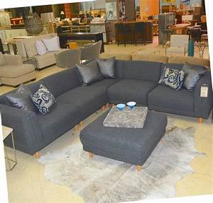 five piece grey sectional and ottoman horizon home furniture With slate grey sectional sofa