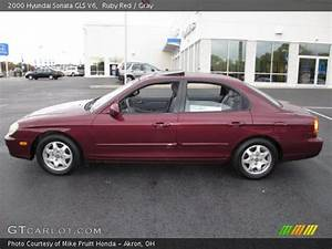 Ruby Red - 2000 Hyundai Sonata Gls V6 - Gray Interior