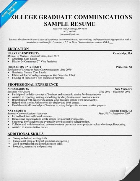 Recent Graduate Resume Template by Resume Sle For College Graduate Biodata Format For