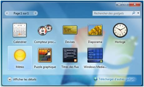 gadget de bureau windows 7 comment installer la météo sur bureau windows 7