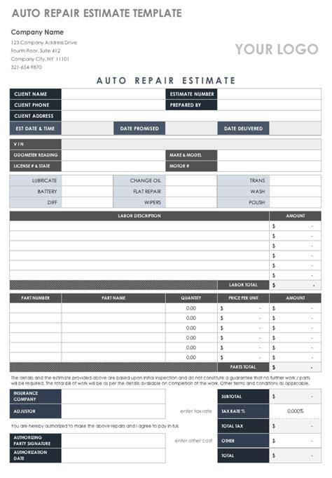 estimate templates smartsheet