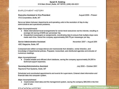 Chronological Resume Wikihow how to write a chronological resume with sle resume