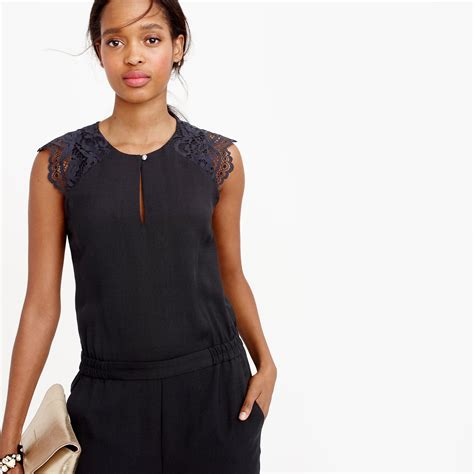 jcrew jumpsuit j crew drapey oxford jumpsuit with lace sleeves in black