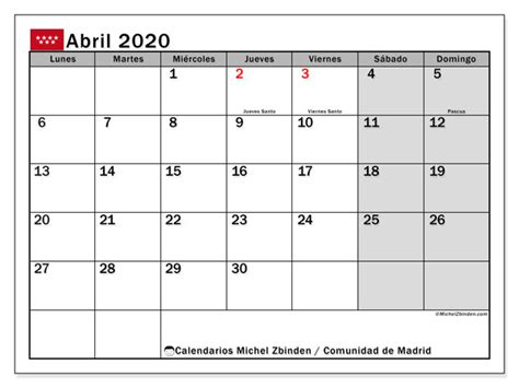 calendario abril comunidad de madrid espana