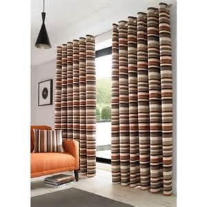 richmond orange lined curtains stripe ready made eyelet