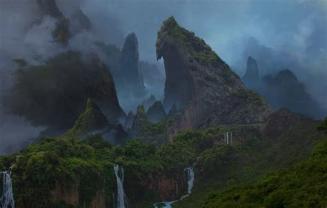 wallpaper forest mountains island waterfall