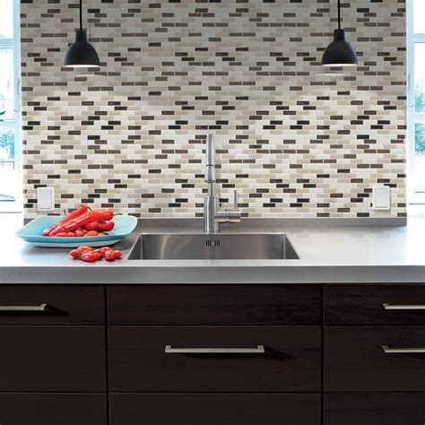 smart tiles peel and stick backsplash presentation smart tiles murano dune 10 20 in x 9 10 in peel and