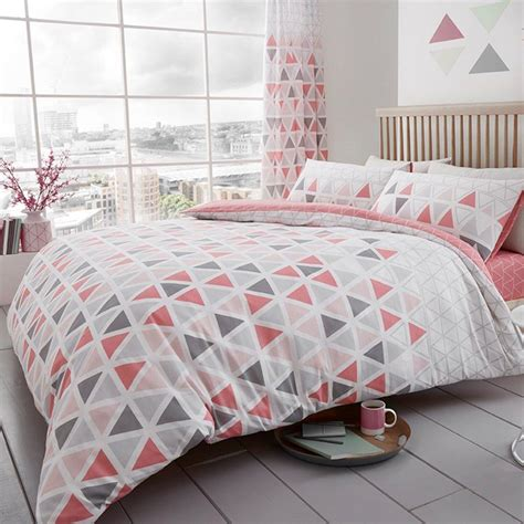 King Sized Duvet by Geo Triangle Duvet Cover Set Bedding Teal Pink Grey