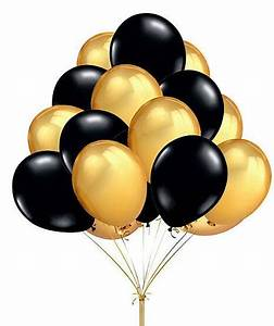 """60 Count 10"""" Mixed Gold Black Round Latex Balloons Wedding"""