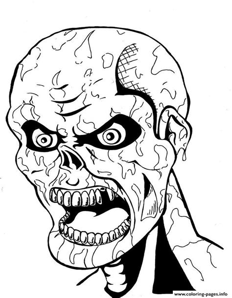 scary zombie face coloring pages printable
