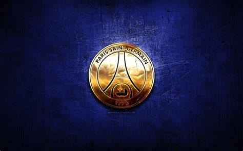 Download wallpapers Paris Saint-Germain FC, golden logo ...