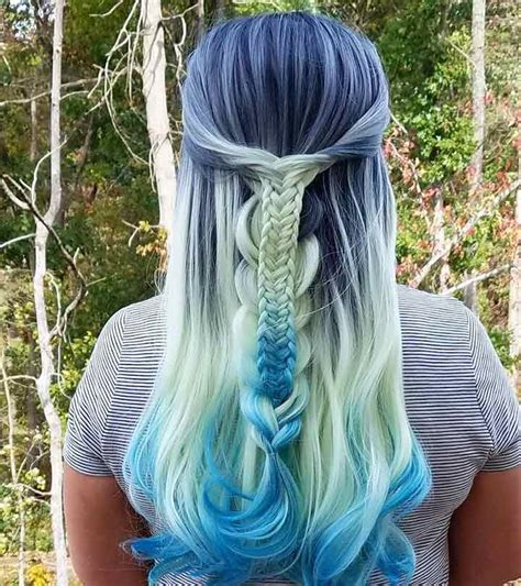 beautiful styling ideas  blue ombre hair