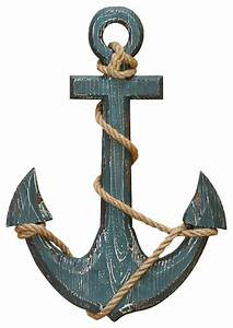 Wood anchor with rope nautical decor beach style wall