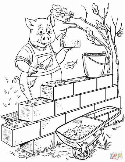 Coloring Penny Brick Pig Pages Building Builds