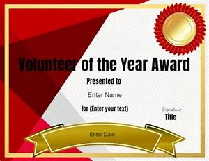 volunteer certificate of appreciation customize online With volunteer of the year certificate template