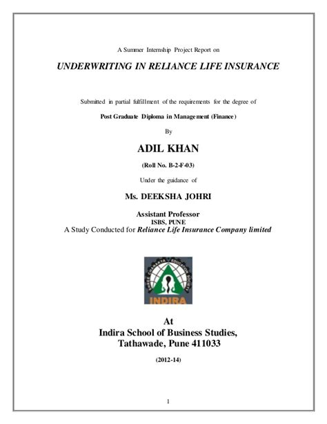 Check spelling or type a new query. Sip on underwriting process in reliance life insurance by adil khan