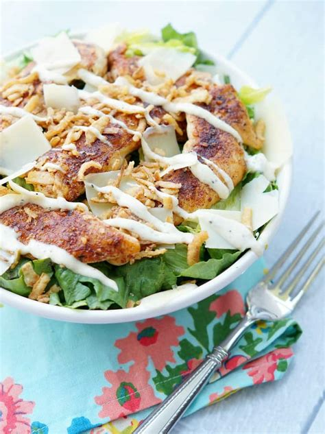 blackened chicken caesar salad  crispy onions pretty