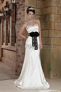 off white with black affordable informal wedding dresses With white informal wedding dress