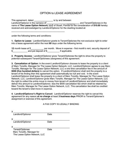 commercial lease with option to purchase template option to lease purchase agreement in word and pdf formats