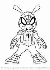 Spider Ham Draw Ultimate Spiderman Drawing Tutorial Cartoon Step Getdrawings Learn sketch template