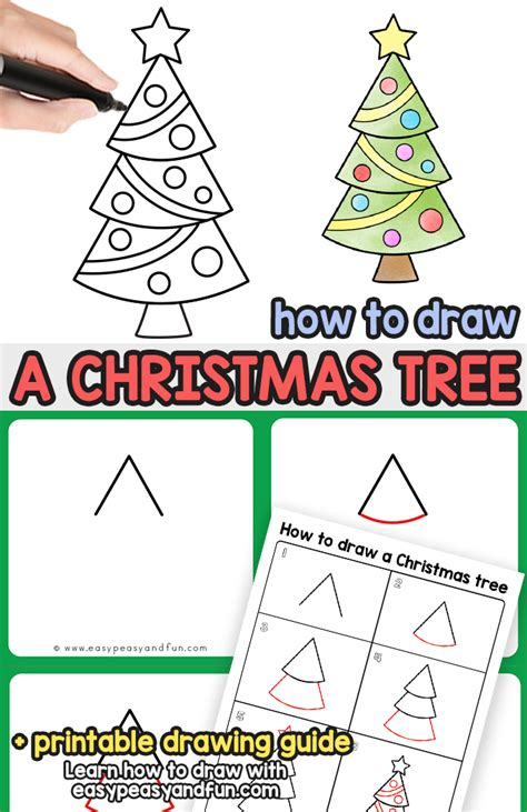 how to draw christmas tree how to draw a tree step by step drawing tutorial easy peasy and
