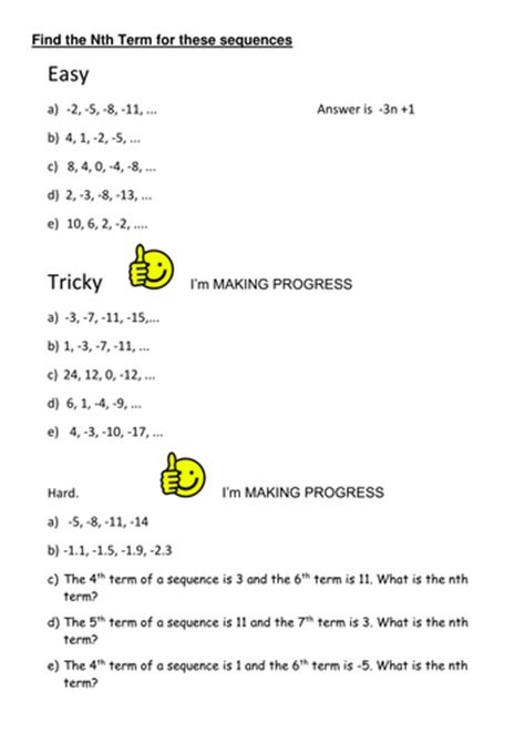 differentiated worksheet nth term by uma07072004