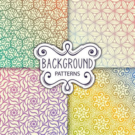 design patterns of four four backgrounds with patterns vector free