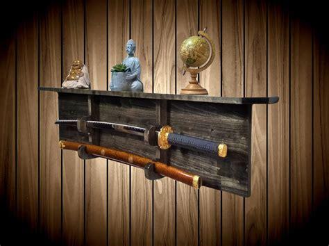 ebony sword rack display shelf wall mount katana military unique gift  shipping