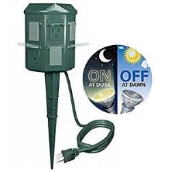 outdoor christmas light yard power stake with photocell and digital timer 6 ft cord plug