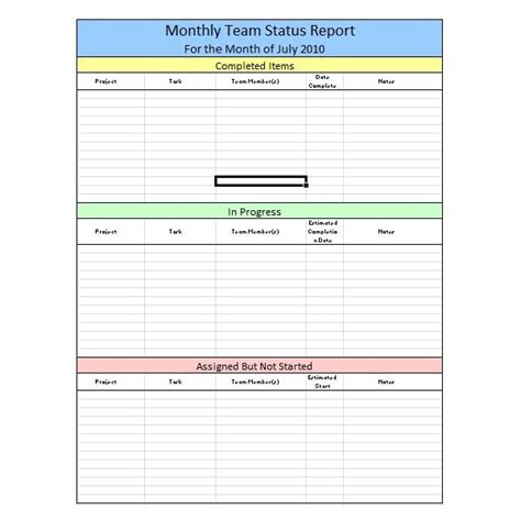sample team monthly report template  excel