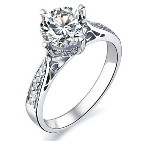 wedding ring white gold 1 carat certified engagement ring on 9ct white gold jeenjewels