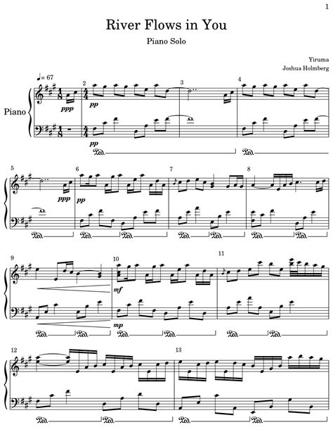 Arranged by david sides for rookie level pianists. River Flows in You - Sheet music for Piano