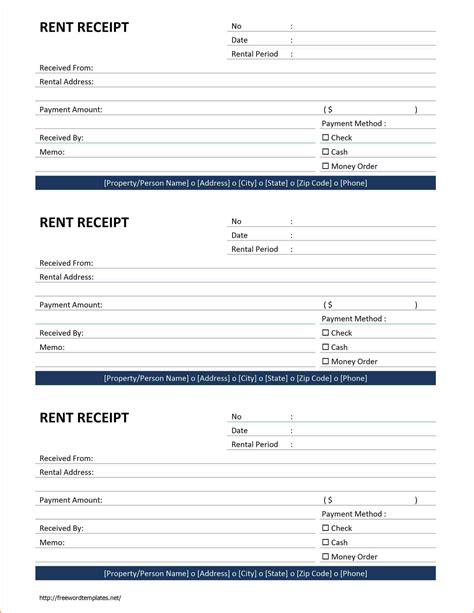 Receipt Template Word 6 Rent Receipt Template Word Authorizationletters Org
