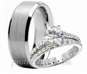 3pc his hers tungsten 925 sterling silver engagement for Men and women wedding ring set