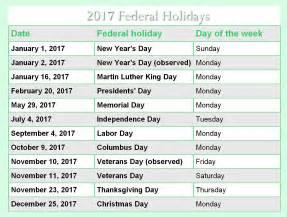 2017 Calendar US Holidays