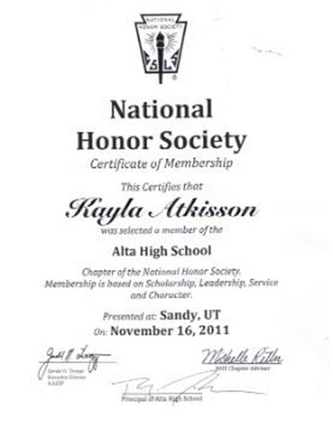 National Honor Society Certificate Template