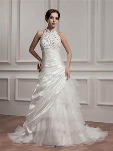 high neck strapless wedding dress with beads and applique With high neck wedding dresses