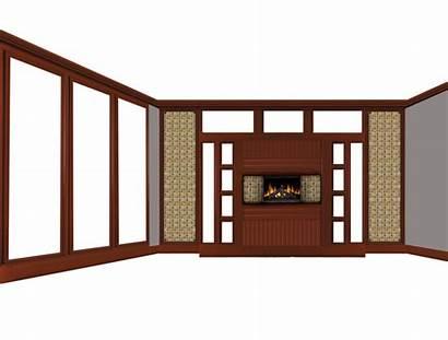 Fireplace Empty Living Window Transparent Clip Fond