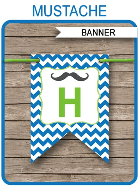 mustache party banner template birthday banner