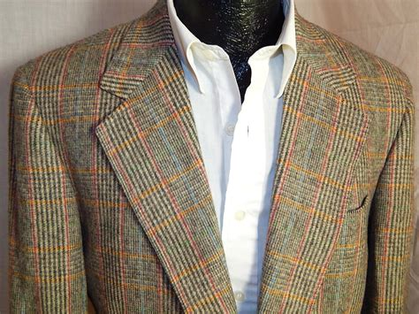 daks men jacket multi color plaid tartan sport coat