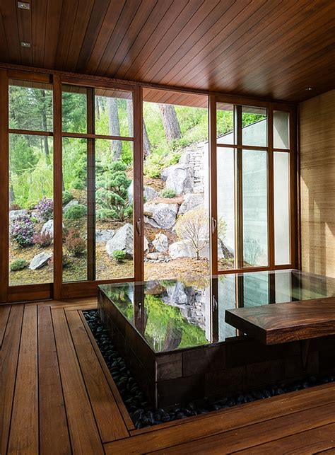 japanese design inspired pool house  spa showcases