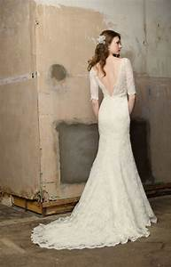 lace wedding dress with sleeves and open back sang maestro With lace wedding dress with sleeves and open back